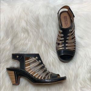 Pikolinos Java Black/Gold Sandals Sz 37/6